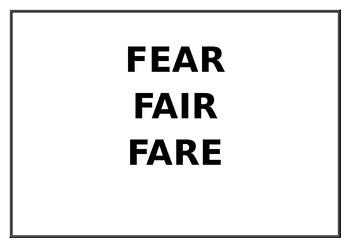 Fair Fear Fare