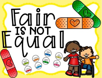 Fair Is Not Equal Lesson and Task Cards - Band Aid Lesson