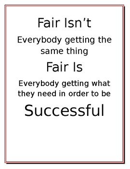 Fair Isn't and Fair is Classroom Decoration