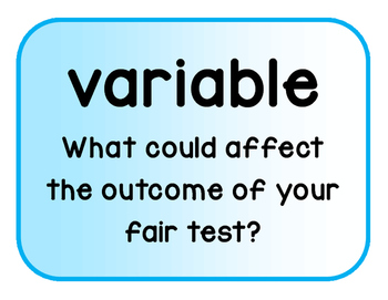 Fair Test and Variables Words - including Cows Moo Softly