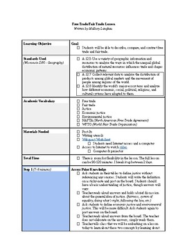 Fair Trade/Free Trade Lesson Plan
