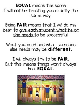 Fair Versus Equal Poster by Teaching with Compassion | TpT