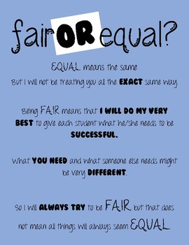 Fair or Equal Classroom Poster Printable