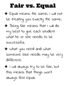Fair vs. Equal Printable