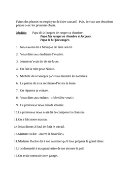 Faire Causatif French worksheet 5