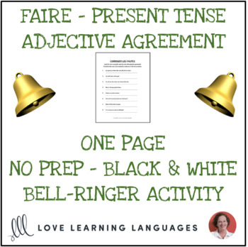 Faire and Descriptive French Adjectives- Correct the mistakes -No prep printable