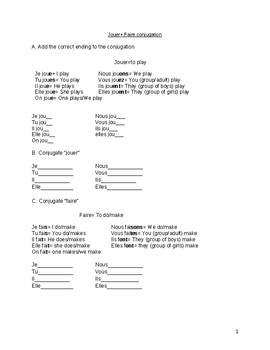 Faire and Jouer (sports) conjugation worksheet #1