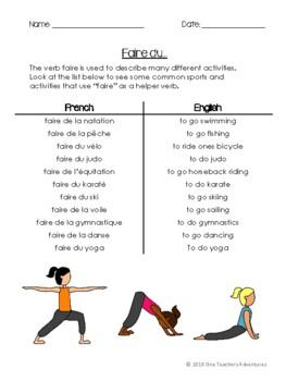 Faire (au present) - grammar notes and activities