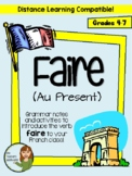 Faire (au present) - grammar notes and activities