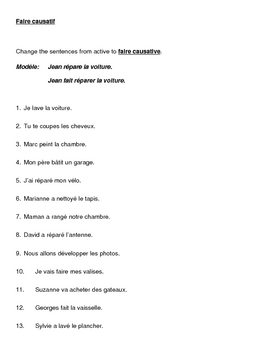 Faire causatif French worksheet 2