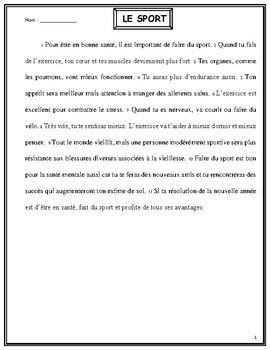 Faire le plan d'un texte et identifier les mots-clés, le sport, French Immersion