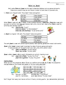 Faire vs Jouer Notes and Practice