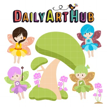 Fairies Flowers and Trees Clip Art - Great for Art Class P