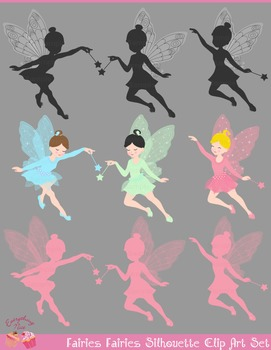 Fairies, Glowing Fairies Silhouette Clip Art Set