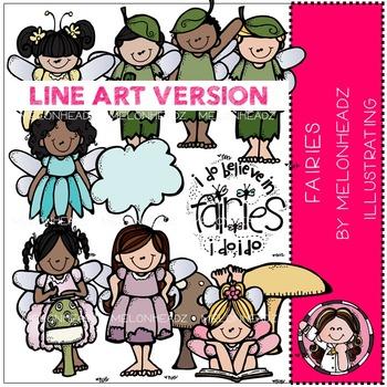 Melonheadz: Fairies clip art - LINE ART