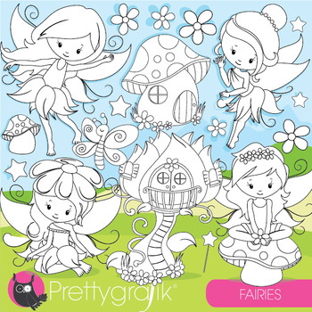 Fairies stamps commercial use, vector graphics, images  - DS943