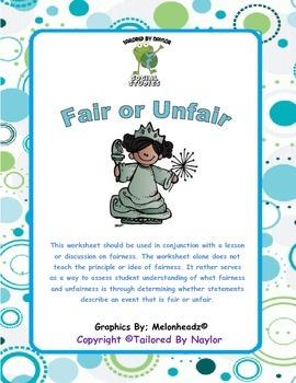 Fairness Worksheet / Test (Is it fair or unfair?) (Is it j