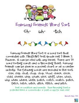 Fairway Friends Word Sort ch, wh, tch