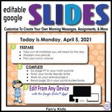 Fairy Editable GOOGLE SLIDES 4 Morning Messages, Task Card