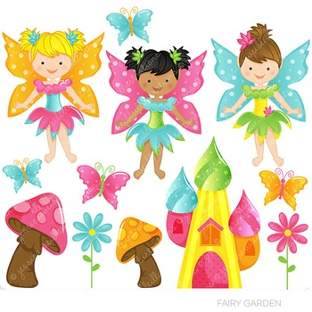 Fairy Garden Cute Digital Clipart, Fairy Graphics