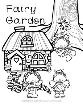 Fairy Garden Matching Tasks and Coloring Page