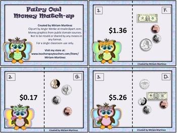 Fairy Owls Money Match-up. Puzzle cards.