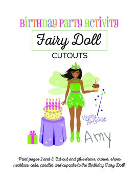 fairy paper doll cutouts african american girl