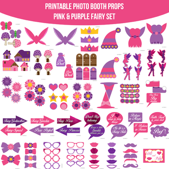 Fairy Pink Printable Photo Booth Prop Set