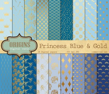 Fairy Princess Blue and Gold digital paper fantasy backgrounds