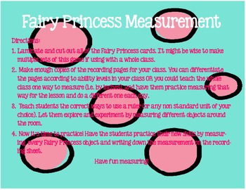 Fairy Princess Measurement by In, 1/2 In, Cm, and Nonstandard Units