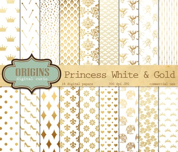 Fairy Princess white and gold digital paper scrapbook fantasy backgrounds