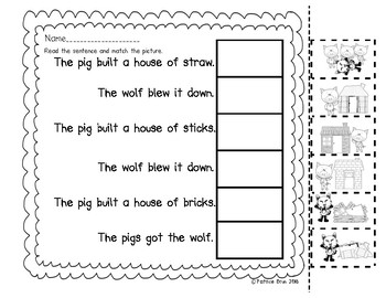 Fairy Tale 3 Little Pig Sequencing and Sentence Picture Matching