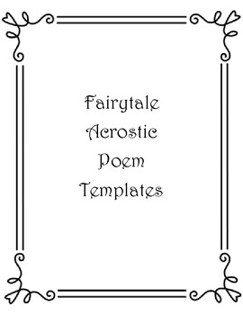 Fairy Tale Acrostic Poem Template; Cinderella, Thumbelina, Rumpelstiltskin, Frog