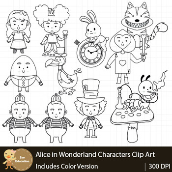 Fairy Tale  : Alice in  The Wonderland Characters Clip Art