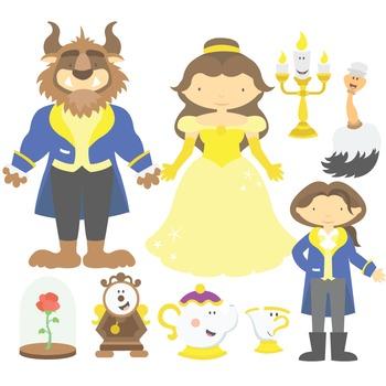 Fairy Tale Beauty And The Beast Digital Clipart & Vector Set