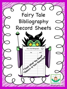 Fairy Tale Bibliography Record Sheets