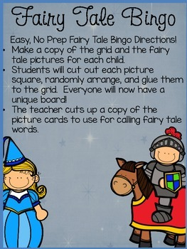 Fairy Tale Bingo Game: Quick and Easy Fairy Tale Fun FREEBIE!