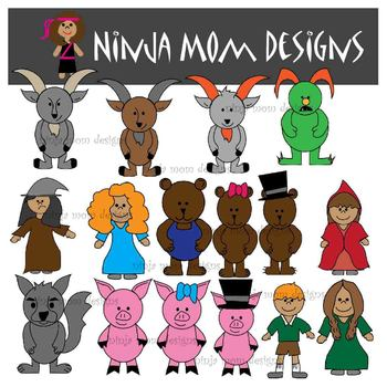 Fairy Tale Character Clip Art in Color and Black Line