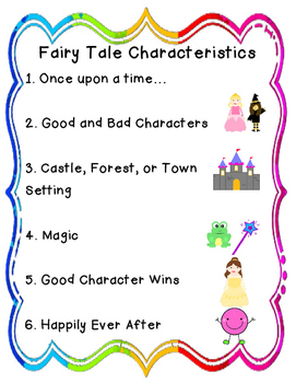 fairy tale characteristics chart by kinderedspirits tpt. Black Bedroom Furniture Sets. Home Design Ideas