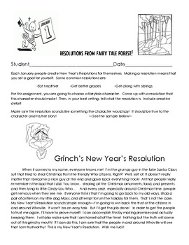 Fairy Tale Character's Make New Year's Resolutions! (Creative Writing Activity)