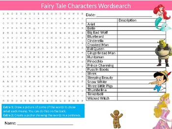 Fairy Tale Characters Wordsearch Sheet Starter Activity Keywords Literature