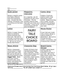 Fairy Tale Choice Board