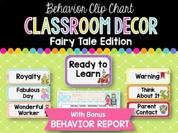 Behavior Clip Chart & Report: Fairy Tale Classroom Decor