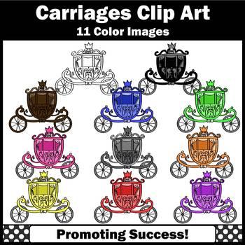 Fairy Tale Clipart, Colorful Carriages, Princess Clip Art, SPS