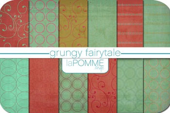 Fairy Tale Coral & Mint Patterned Digital Paper Pack