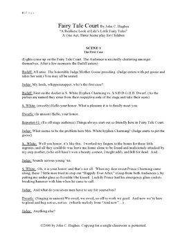 Fairy Tale Court A One Act Three Scene Play Written For Children