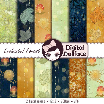 Fairy Tale Digital Paper, Enchanted Forest Backgrounds