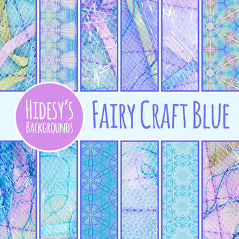Fairy Tale Digital Papers Blue - Ephemeral Stitched Craft Backgrounds Clip Art