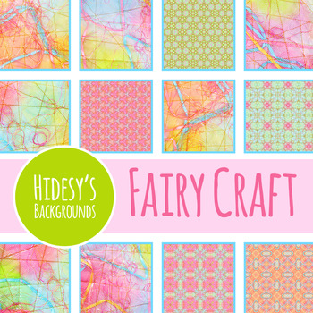 Fairy Tale Digital Papers - Ephemeral Stitched Craft Backgrounds Clip Art