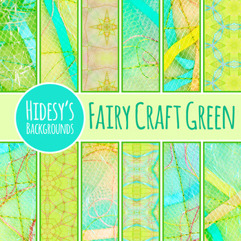 Fairy Tale Digital Papers Green - Ephemeral Stitched Craft Backgrounds Clip Art